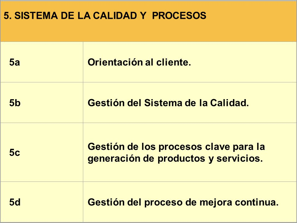 5. SISTEMA DE LA CALIDAD Y PROCESOS