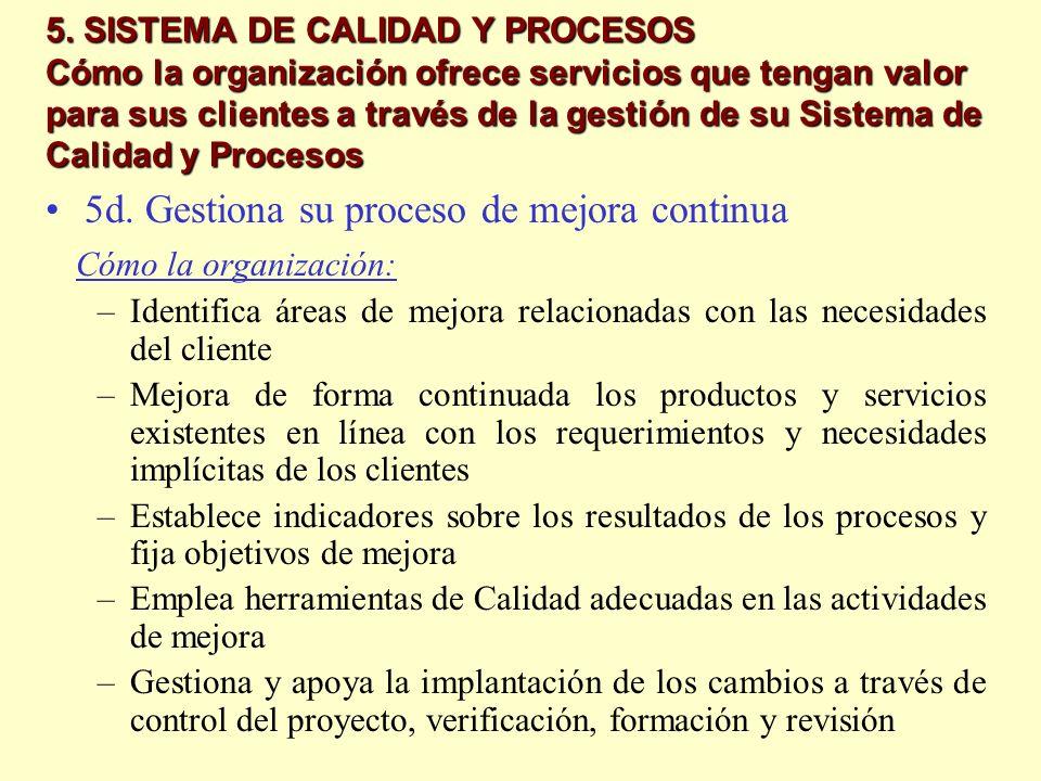 5d. Gestiona su proceso de mejora continua Cómo la organización: