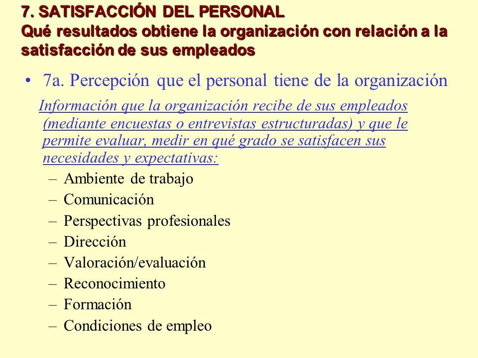7a. Percepción que el personal tiene de la organización
