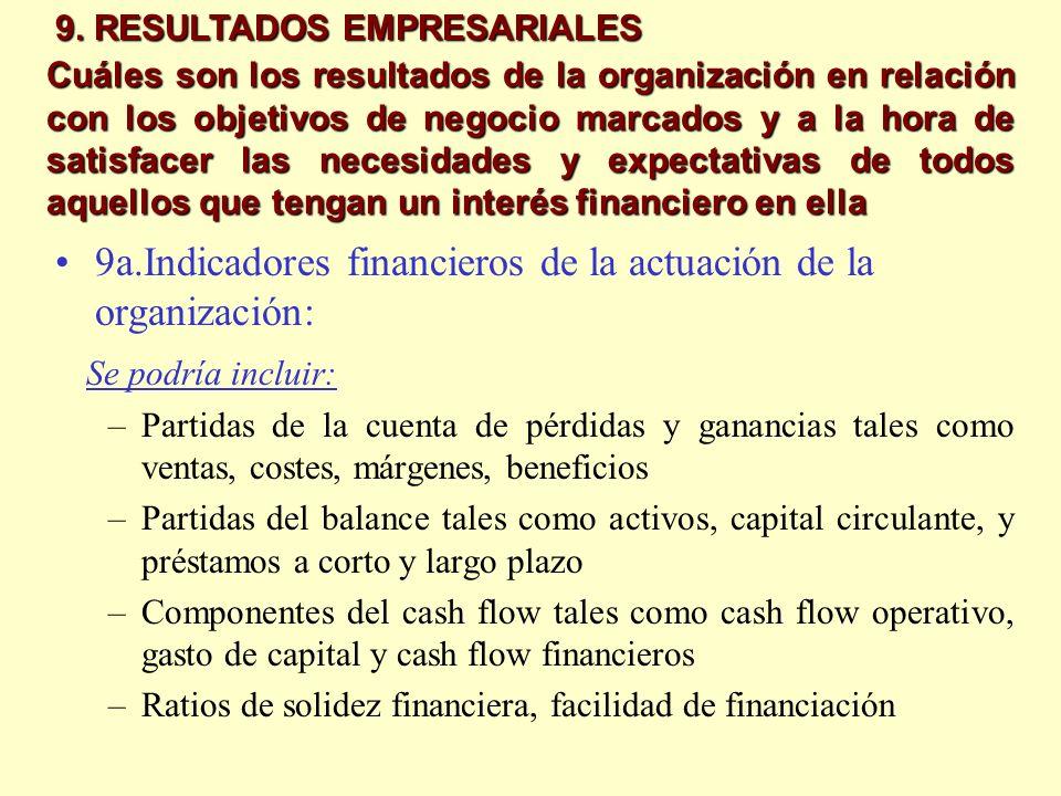 9a.Indicadores financieros de la actuación de la organización: