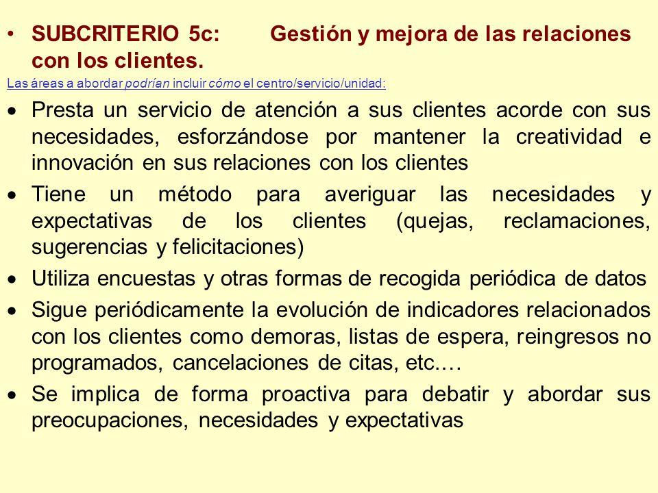 SUBCRITERIO 5c: Gestión y mejora de las relaciones con los clientes.