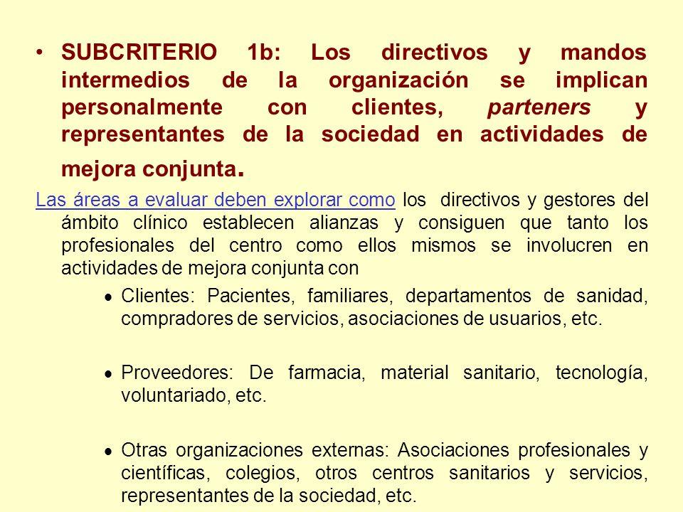 SUBCRITERIO 1b: Los directivos y mandos intermedios de la organización se implican personalmente con clientes, parteners y representantes de la sociedad en actividades de mejora conjunta.