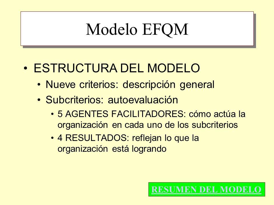 Modelo EFQM ESTRUCTURA DEL MODELO Nueve criterios: descripción general