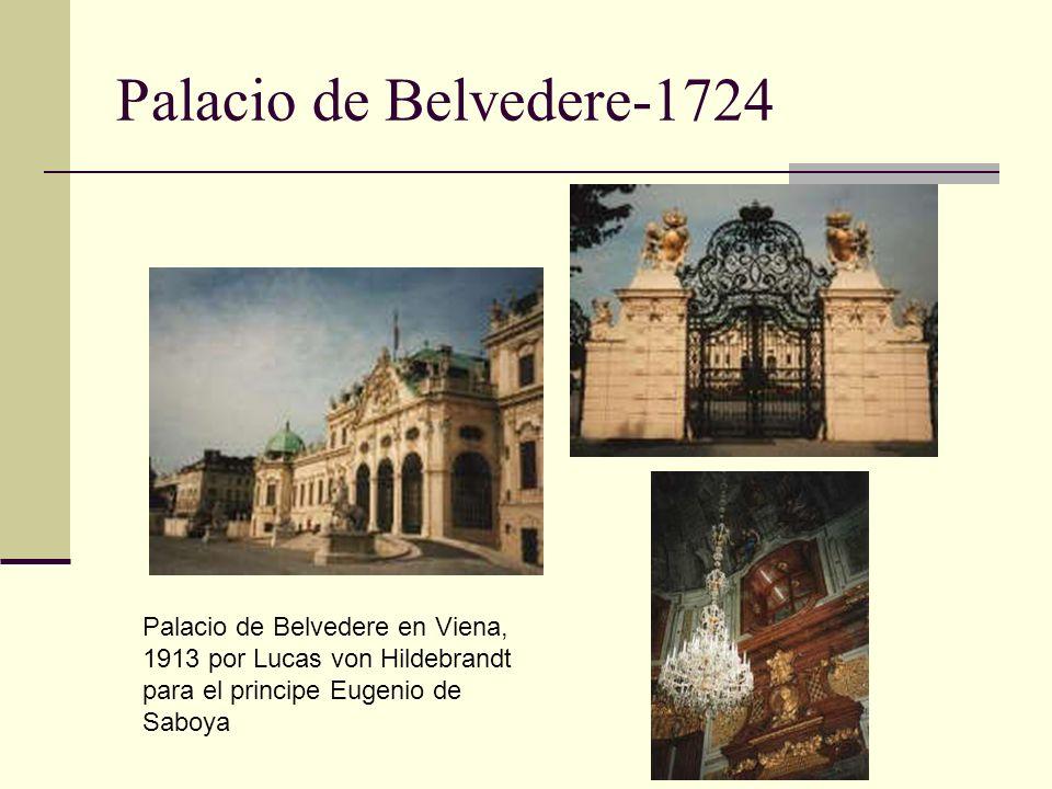 Palacio de Belvedere-1724 Palacio de Belvedere en Viena, 1913 por Lucas von Hildebrandt para el principe Eugenio de Saboya.