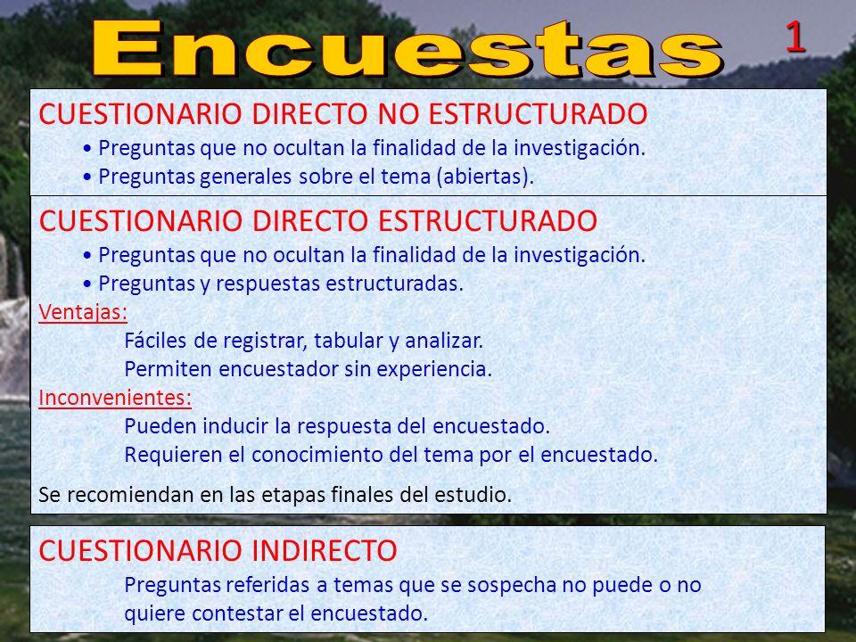 1 Encuestas CUESTIONARIO DIRECTO NO ESTRUCTURADO