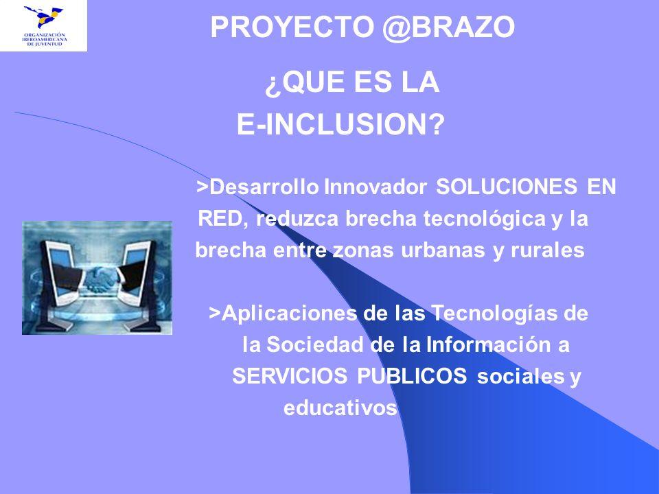 E-INCLUSION PROYECTO @BRAZO >Desarrollo Innovador SOLUCIONES EN