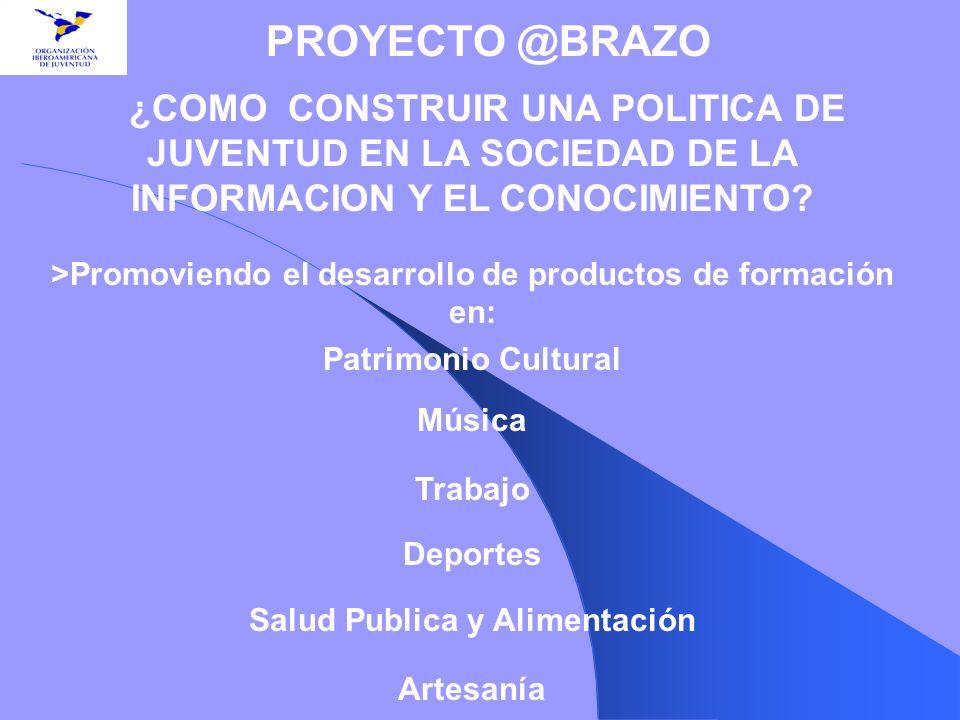 >Promoviendo el desarrollo de productos de formación en: