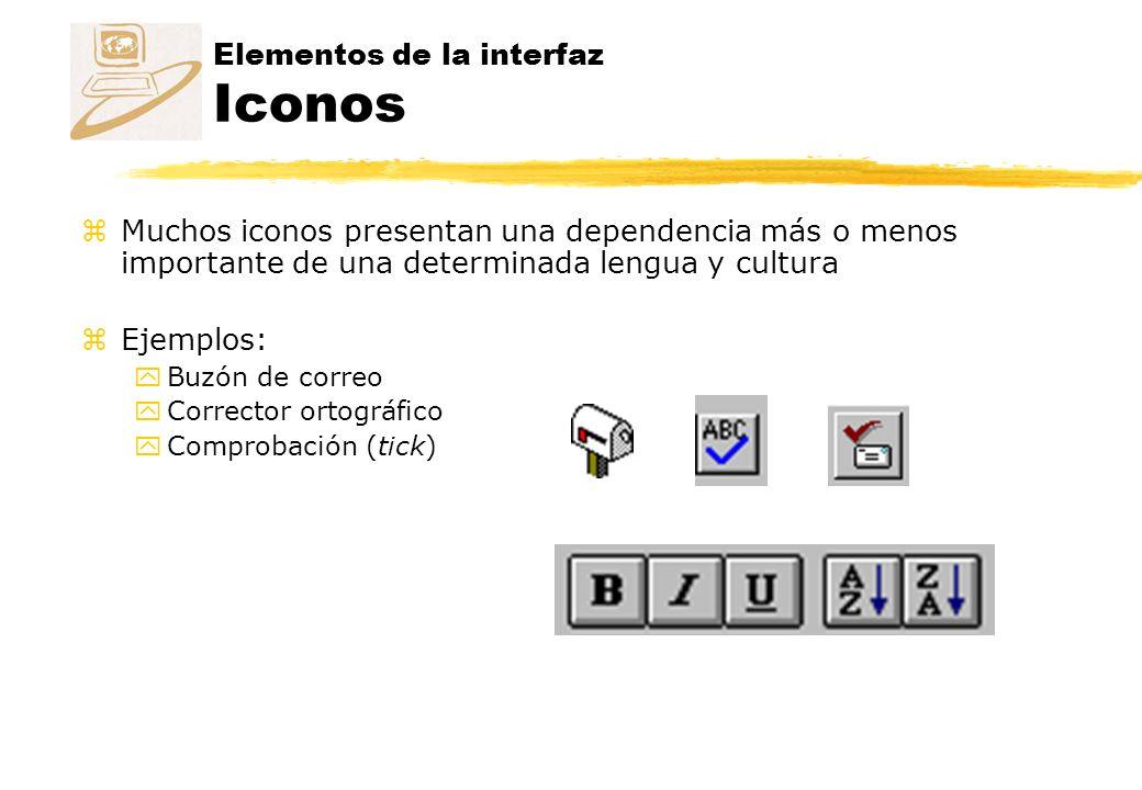 Elementos de la interfaz Iconos