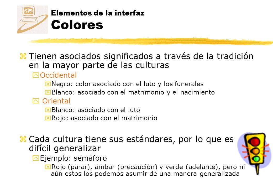 Elementos de la interfaz Colores