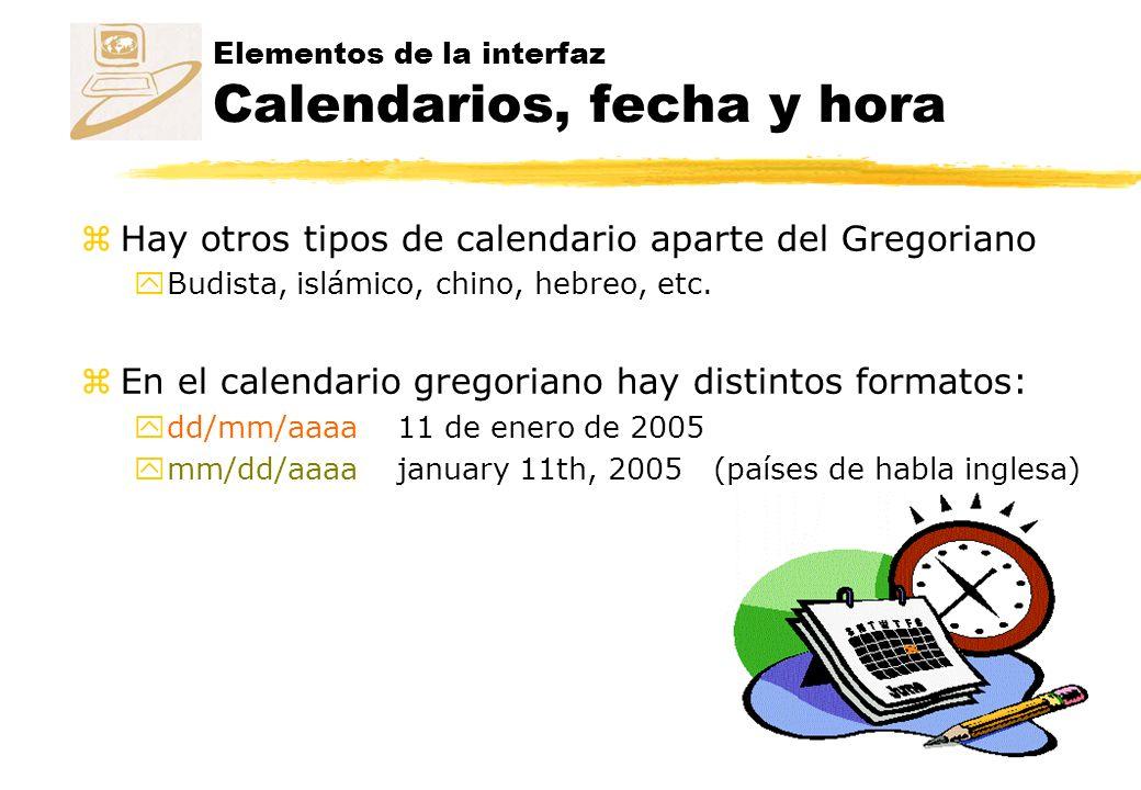 Elementos de la interfaz Calendarios, fecha y hora