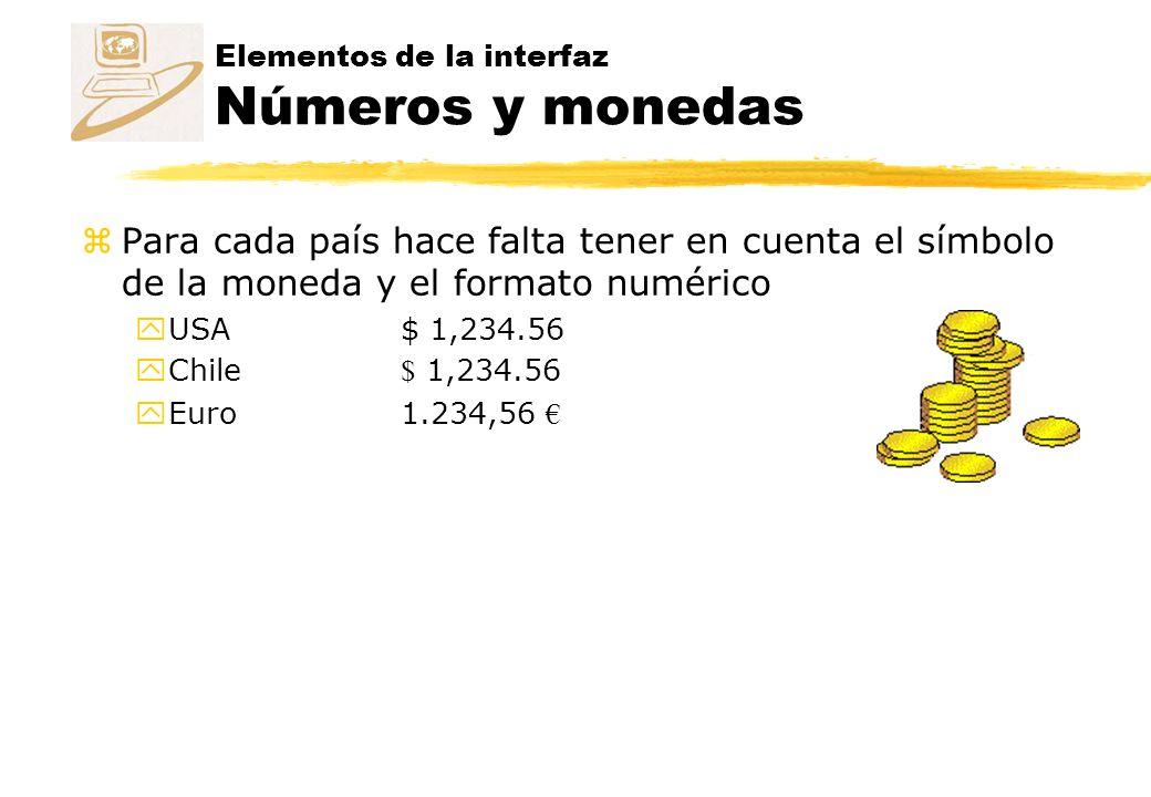 Elementos de la interfaz Números y monedas