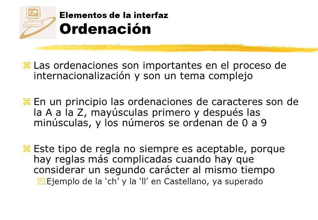 Elementos de la interfaz Ordenación