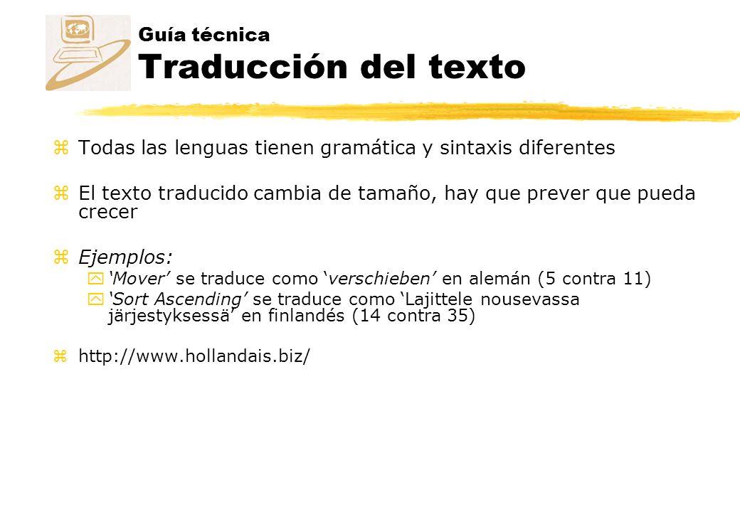 Guía técnica Traducción del texto