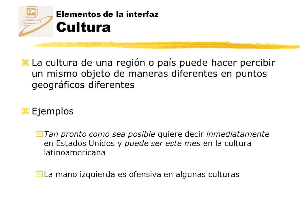 Elementos de la interfaz Cultura