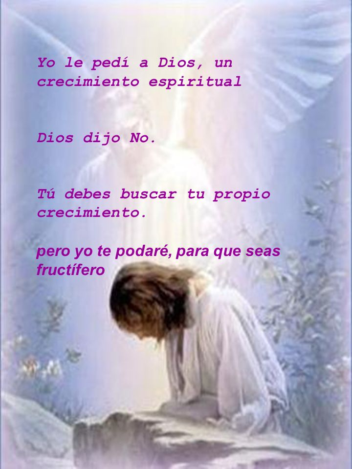 Yo le pedí a Dios, un crecimiento espiritual
