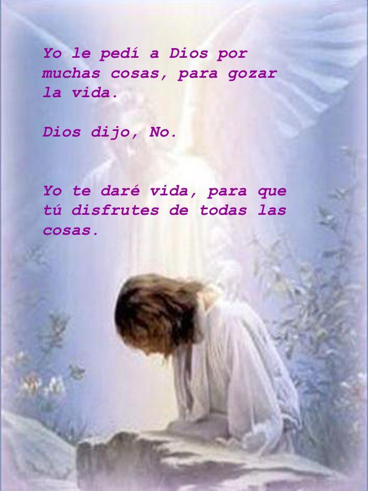 Yo le pedí a Dios por muchas cosas, para gozar la vida.