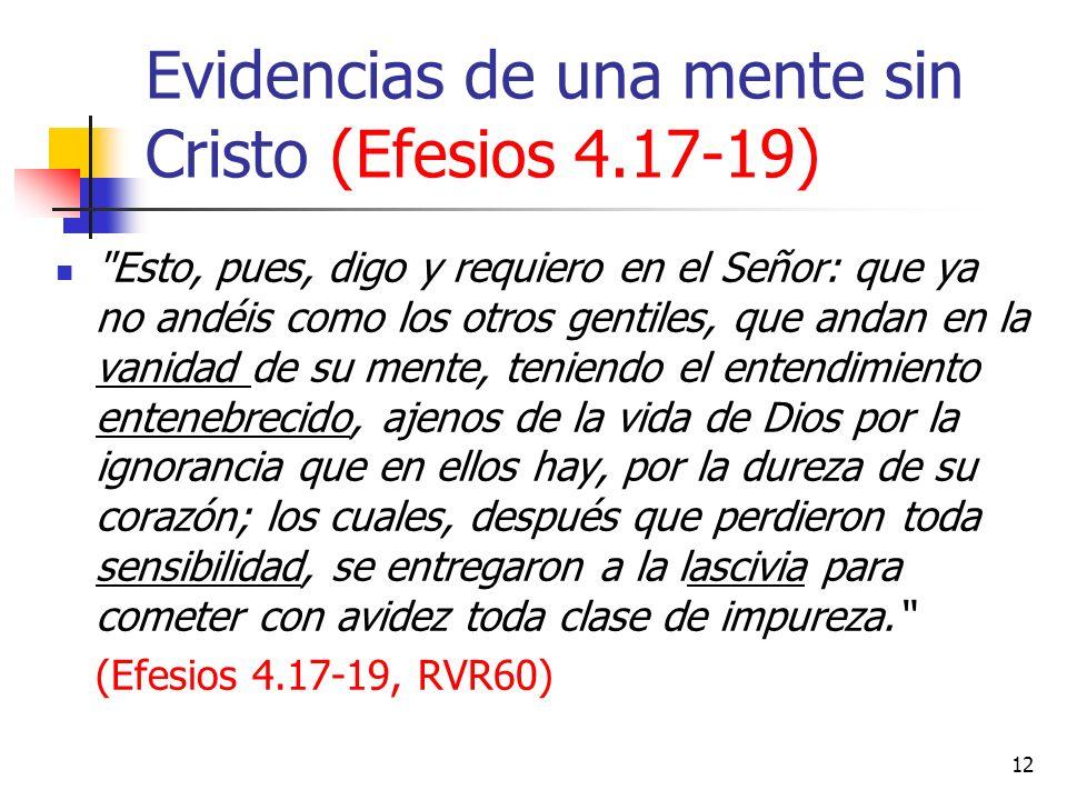 Evidencias de una mente sin Cristo (Efesios 4.17-19)
