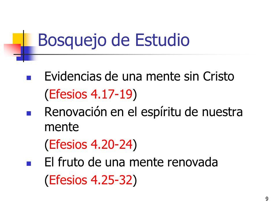 Bosquejo de Estudio Evidencias de una mente sin Cristo