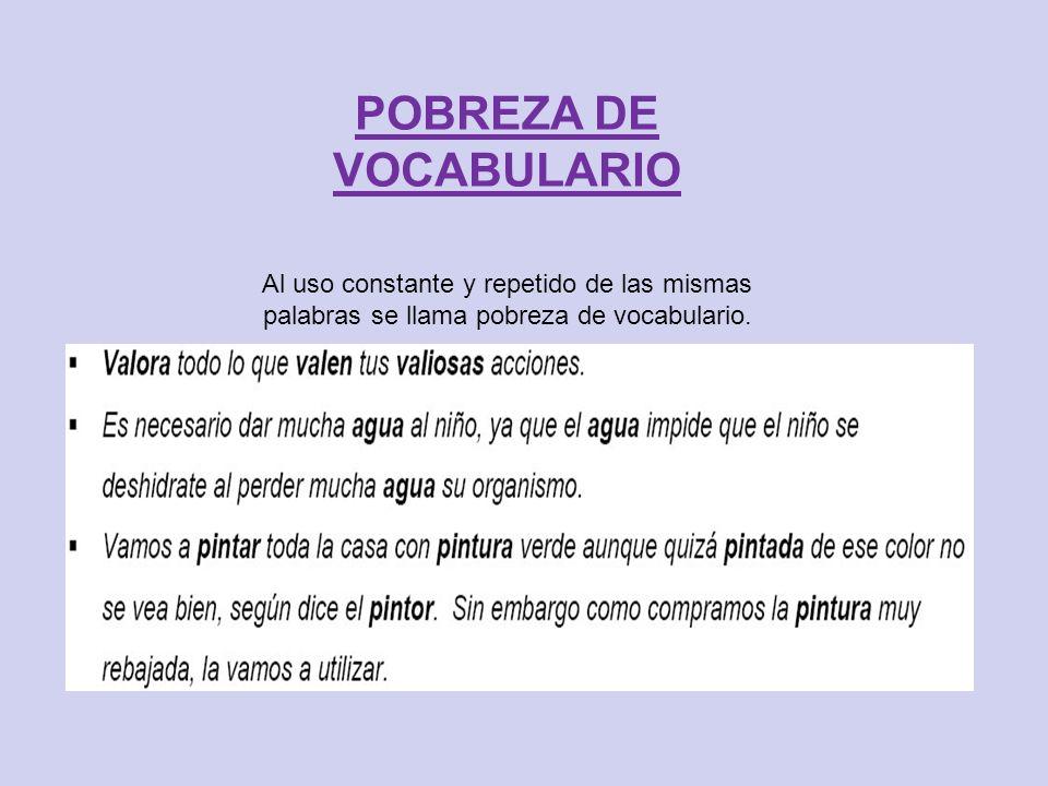 POBREZA DE VOCABULARIO