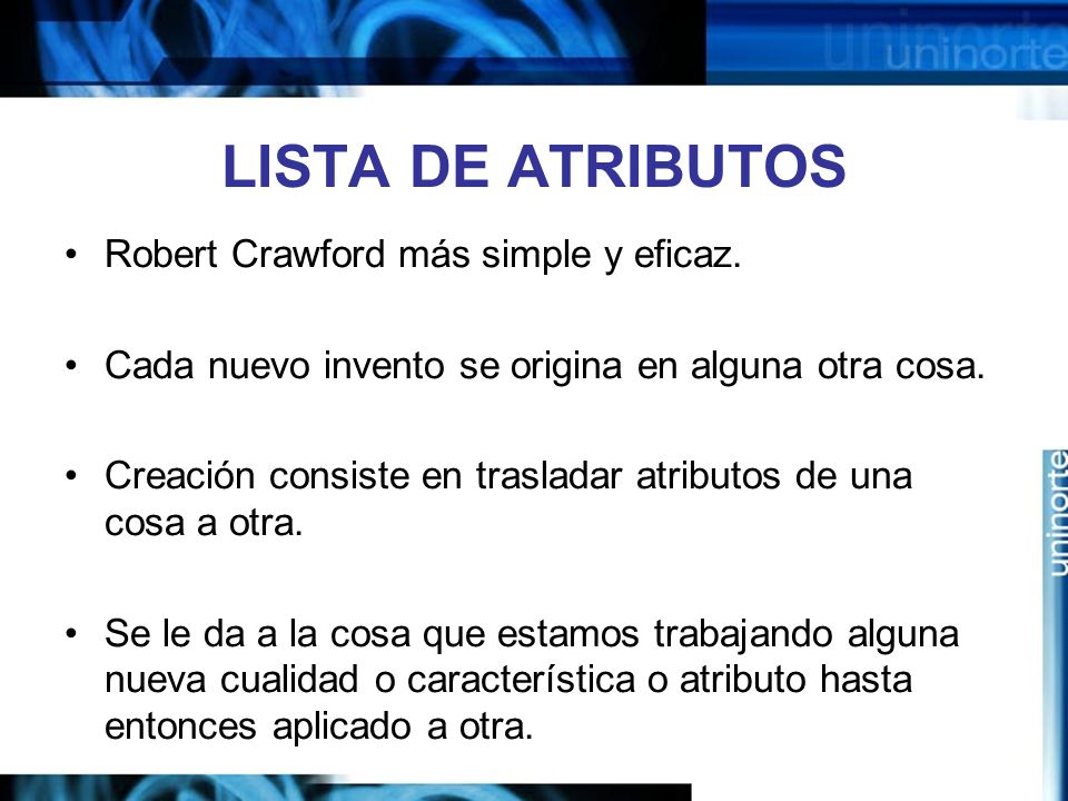 LISTA DE ATRIBUTOS Robert Crawford más simple y eficaz.