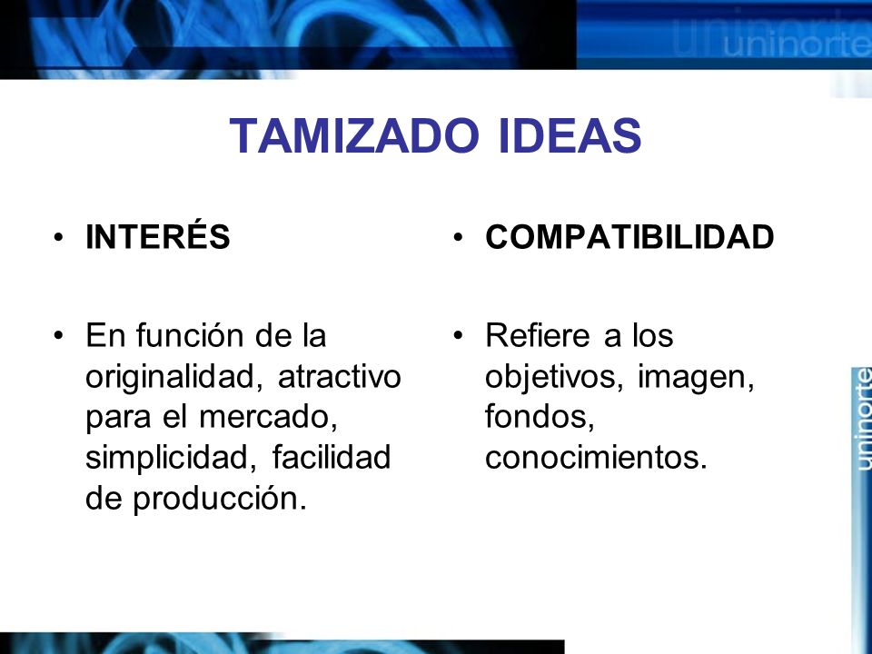 TAMIZADO IDEAS INTERÉS