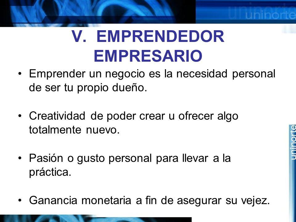 V. EMPRENDEDOR EMPRESARIO
