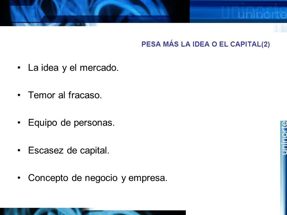 PESA MÁS LA IDEA O EL CAPITAL(2)