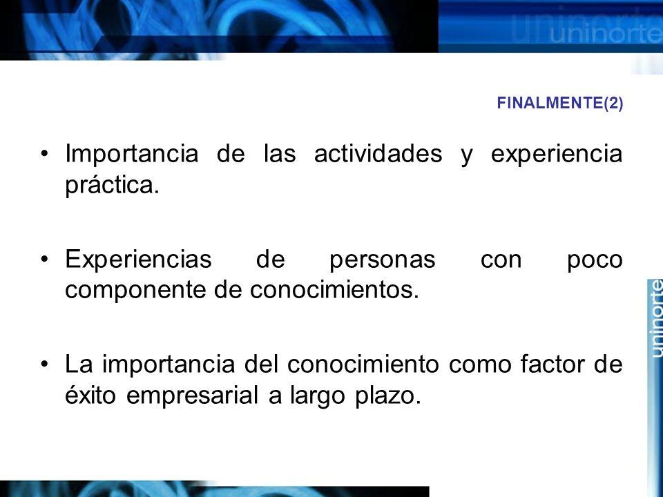 Importancia de las actividades y experiencia práctica.
