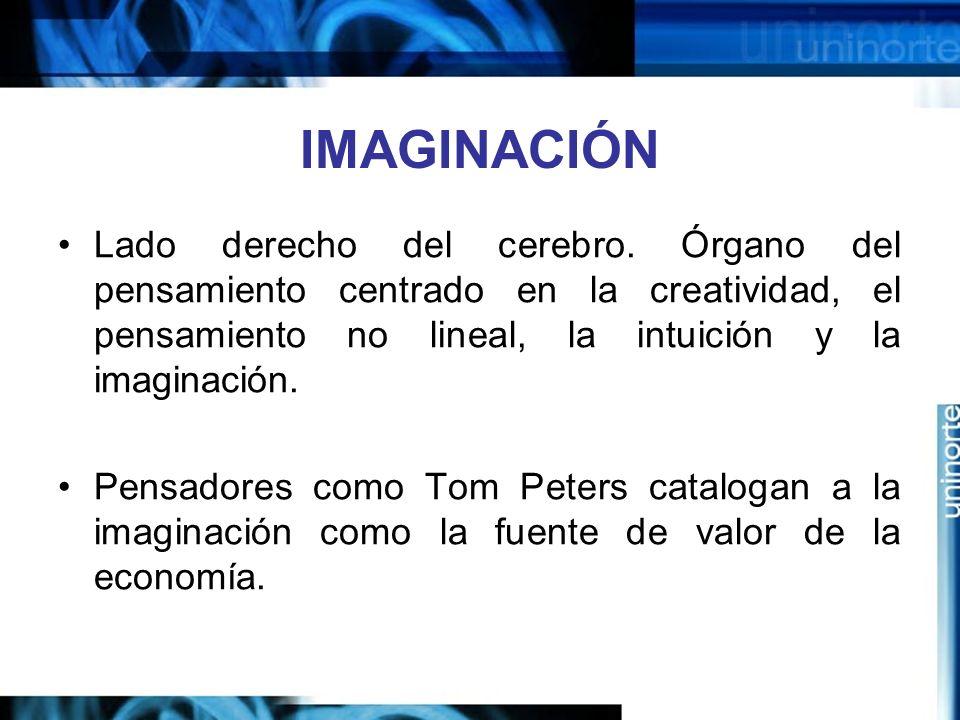 IMAGINACIÓN Lado derecho del cerebro. Órgano del pensamiento centrado en la creatividad, el pensamiento no lineal, la intuición y la imaginación.