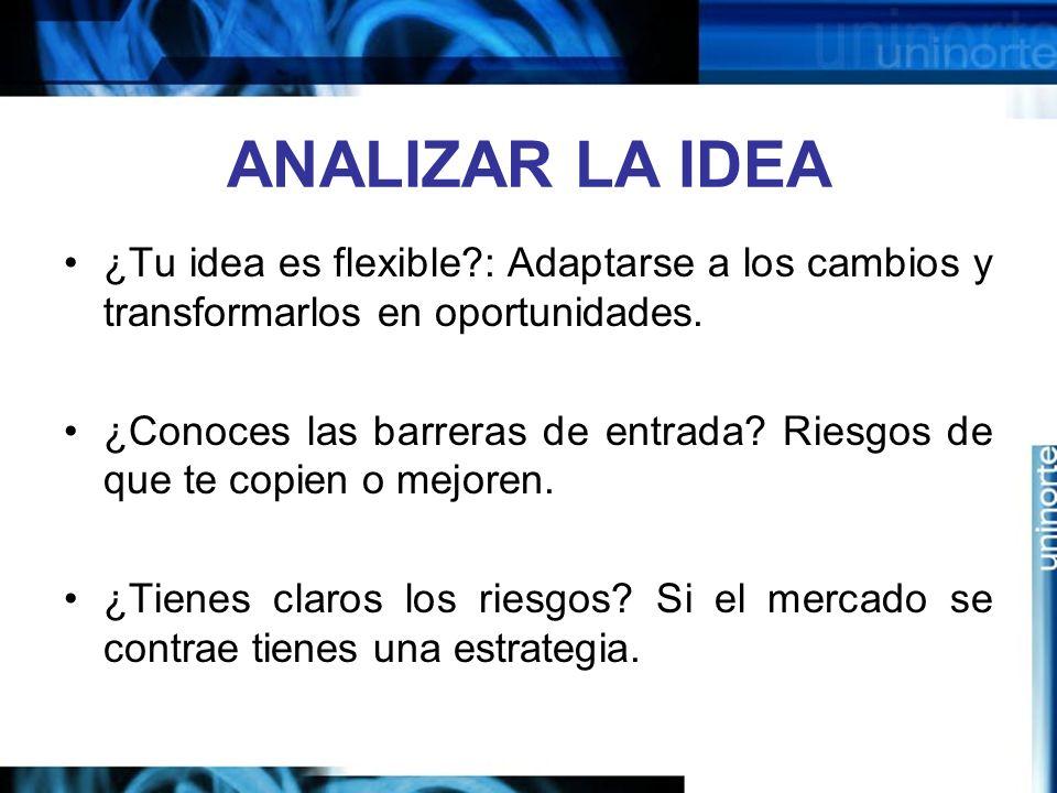 ANALIZAR LA IDEA ¿Tu idea es flexible : Adaptarse a los cambios y transformarlos en oportunidades.