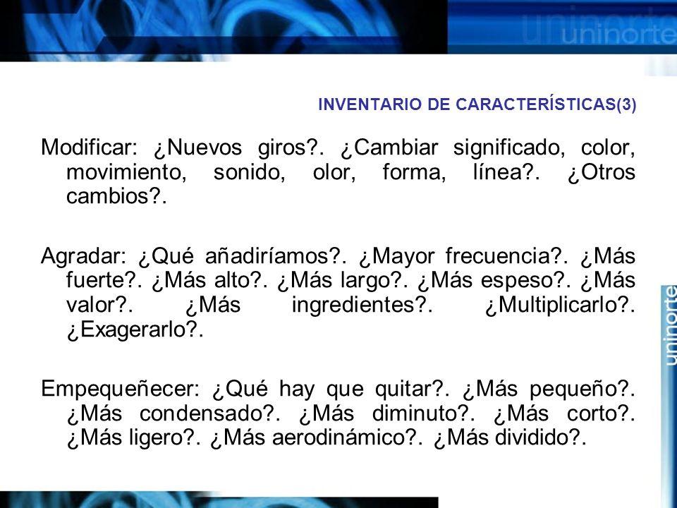 INVENTARIO DE CARACTERÍSTICAS(3)