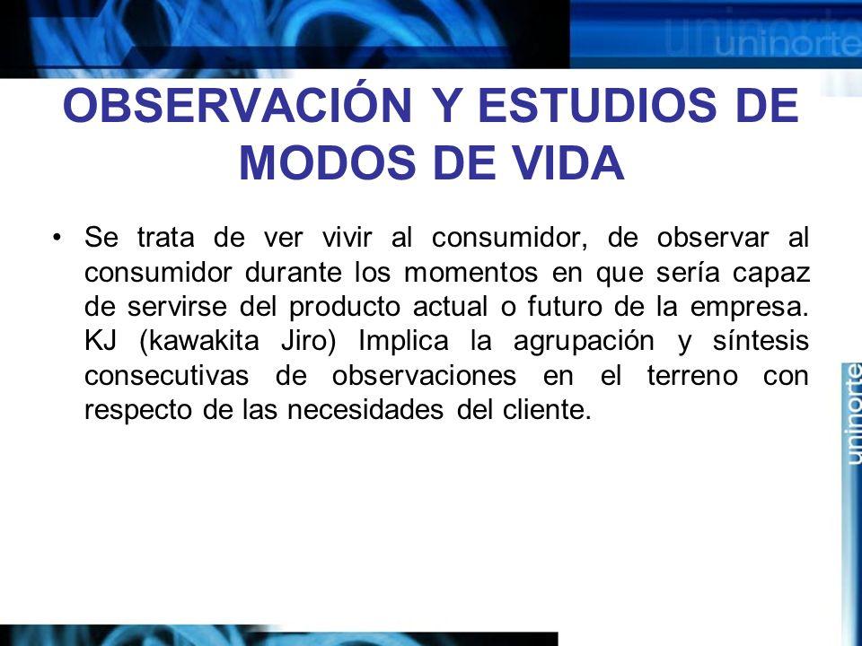 OBSERVACIÓN Y ESTUDIOS DE MODOS DE VIDA
