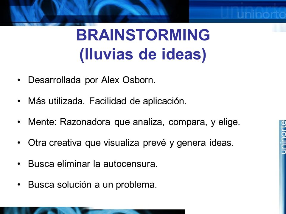 BRAINSTORMING (lluvias de ideas)
