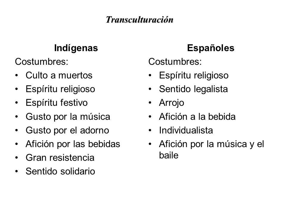 Transculturación Indígenas. Costumbres: Culto a muertos. Espíritu religioso. Espíritu festivo. Gusto por la música.