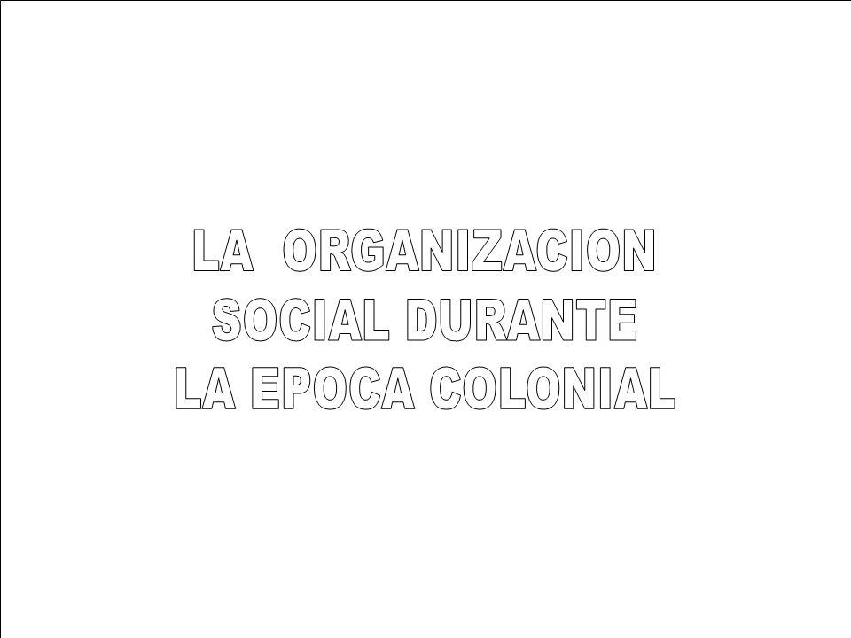 LA ORGANIZACION SOCIAL DURANTE LA EPOCA COLONIAL