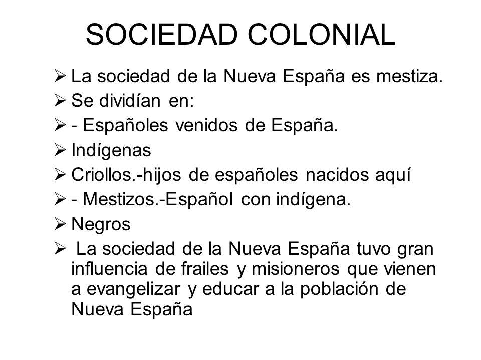 SOCIEDAD COLONIAL La sociedad de la Nueva España es mestiza.