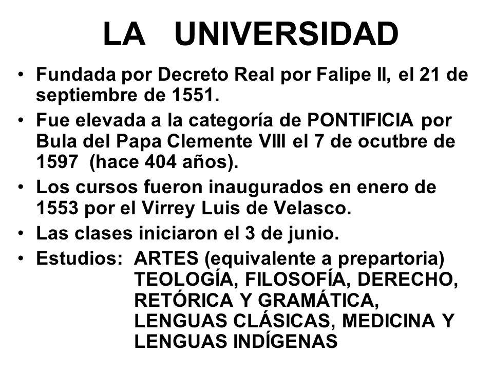LA UNIVERSIDAD Fundada por Decreto Real por Falipe II, el 21 de septiembre de 1551.