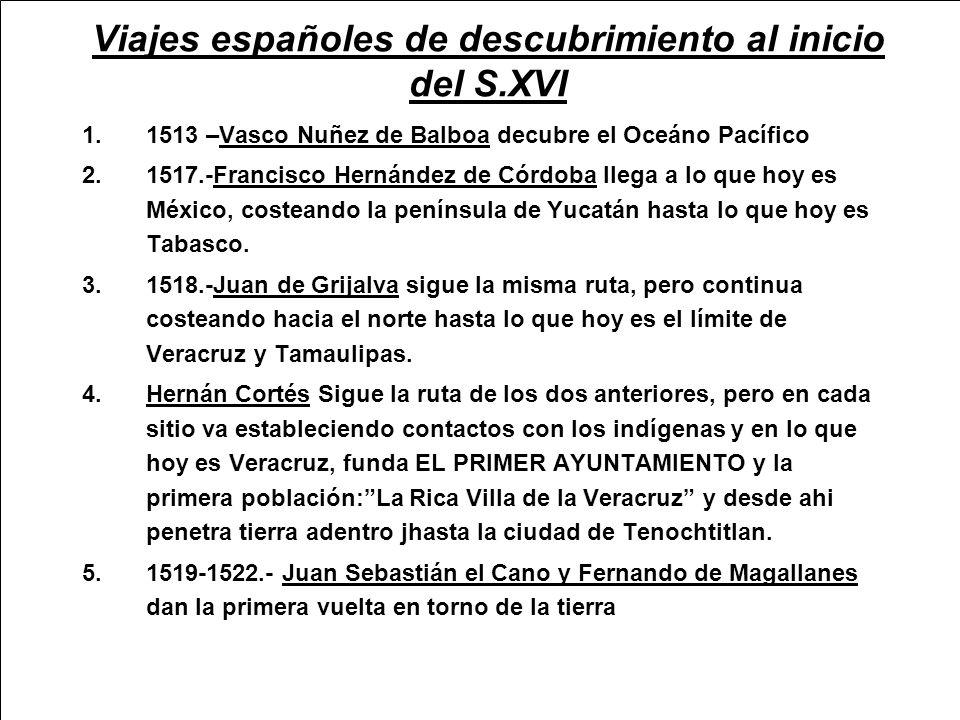 Viajes españoles de descubrimiento al inicio del S.XVI
