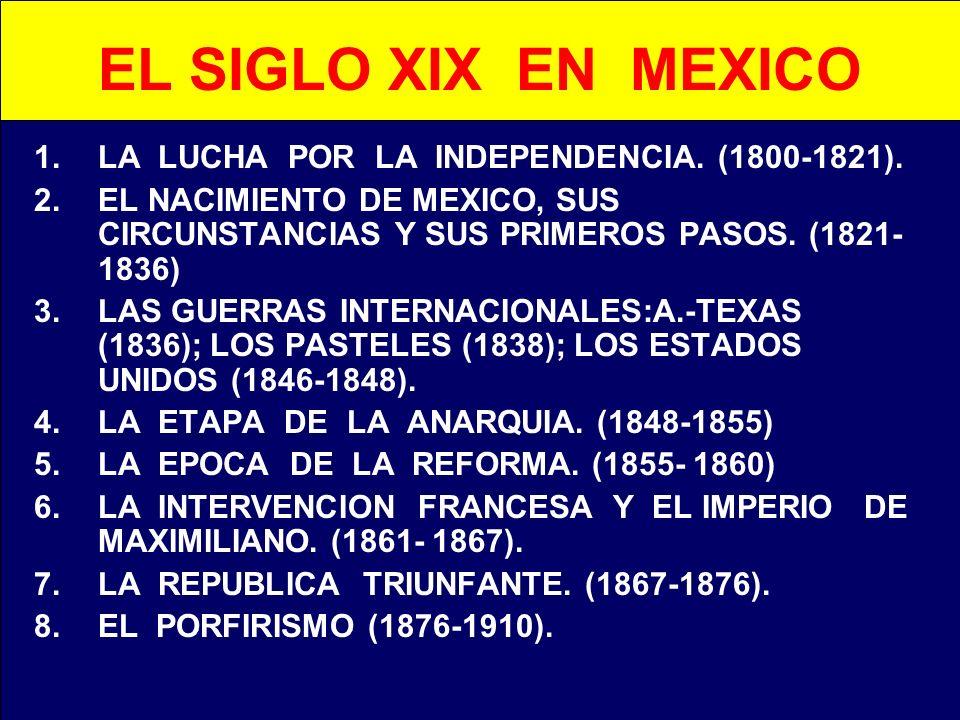 EL SIGLO XIX EN MEXICO LA LUCHA POR LA INDEPENDENCIA. (1800-1821).