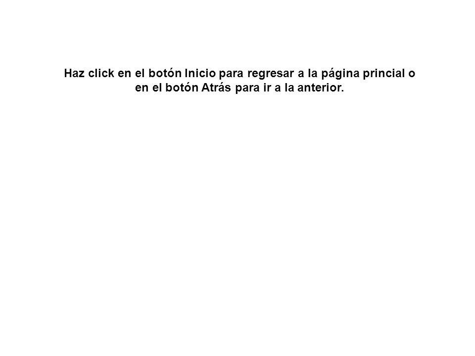 Haz click en el botón Inicio para regresar a la página princial o en el botón Atrás para ir a la anterior.