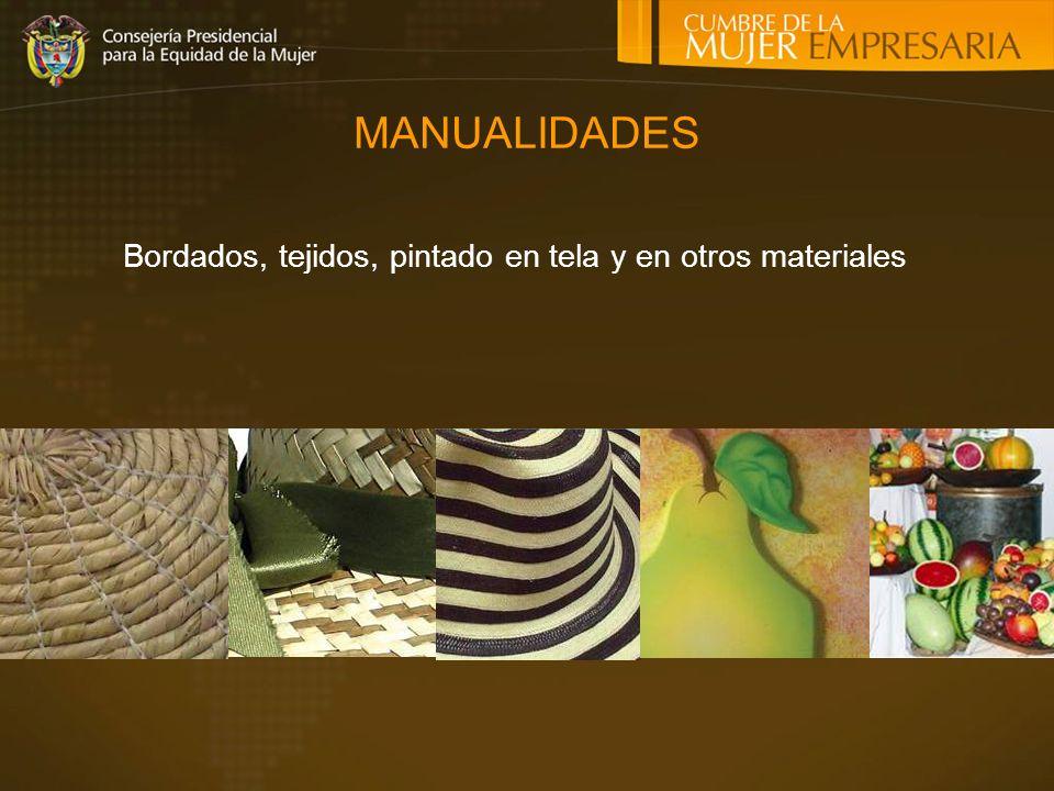 Bordados, tejidos, pintado en tela y en otros materiales