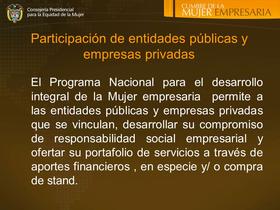 Participación de entidades públicas y empresas privadas