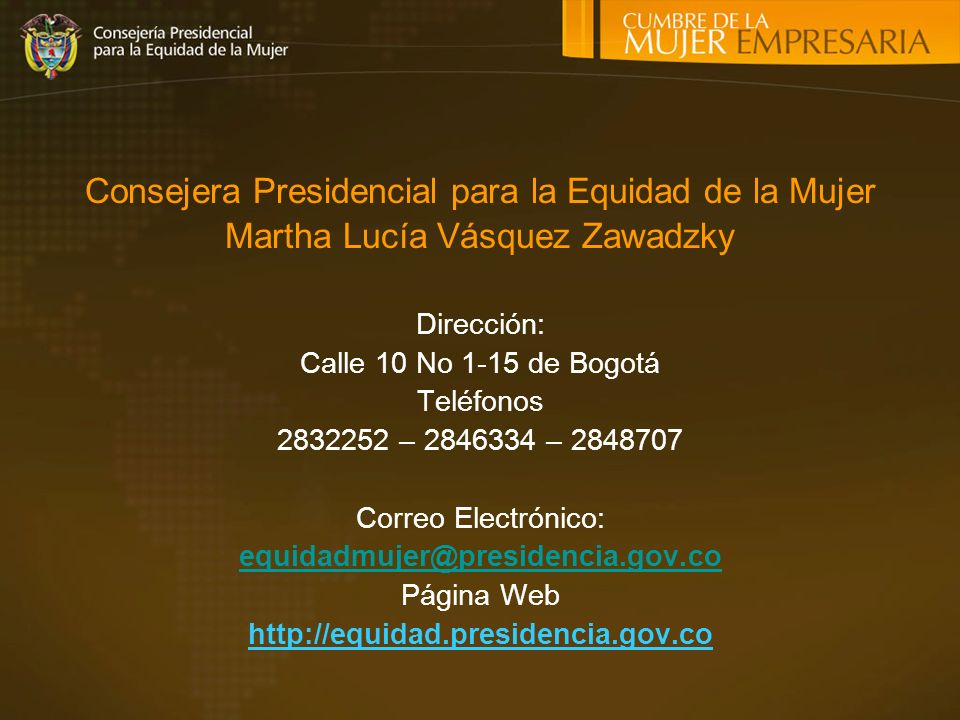 Consejera Presidencial para la Equidad de la Mujer