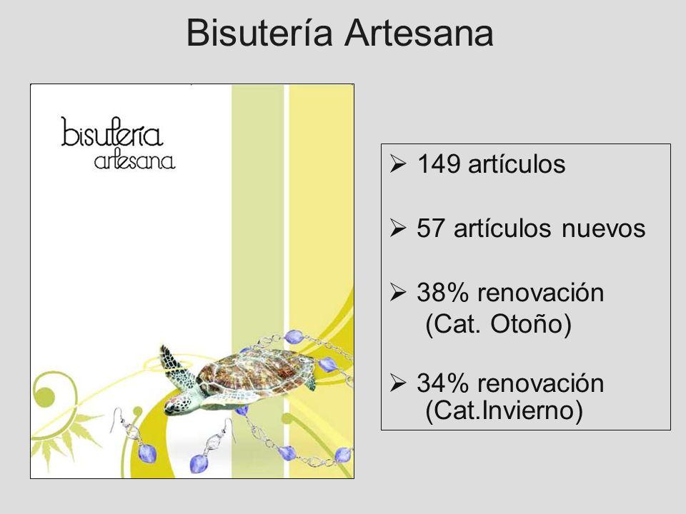 Bisutería Artesana 149 artículos 57 artículos nuevos 38% renovación