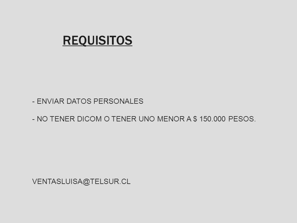 REQUISITOS ENVIAR DATOS PERSONALES