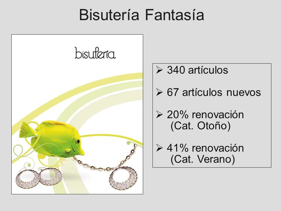 Bisutería Fantasía 340 artículos 67 artículos nuevos 20% renovación