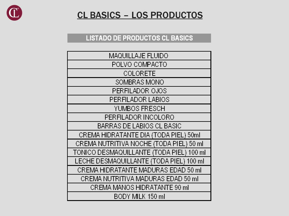CL BASICS – LOS PRODUCTOS