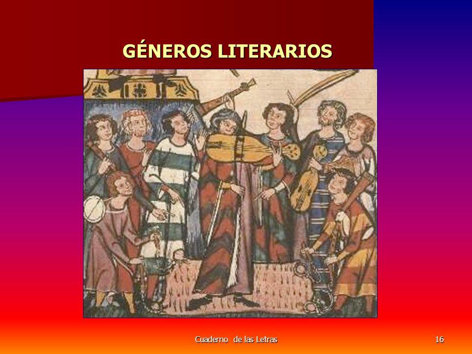 GÉNEROS LITERARIOS Cuaderno de las Letras