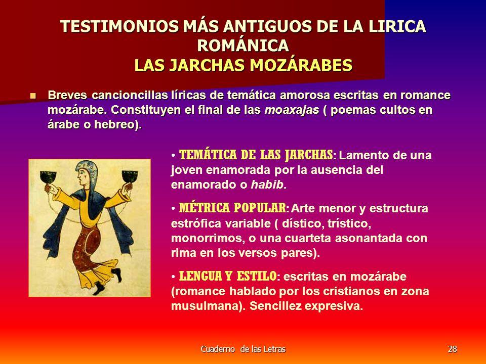 TESTIMONIOS MÁS ANTIGUOS DE LA LIRICA ROMÁNICA LAS JARCHAS MOZÁRABES