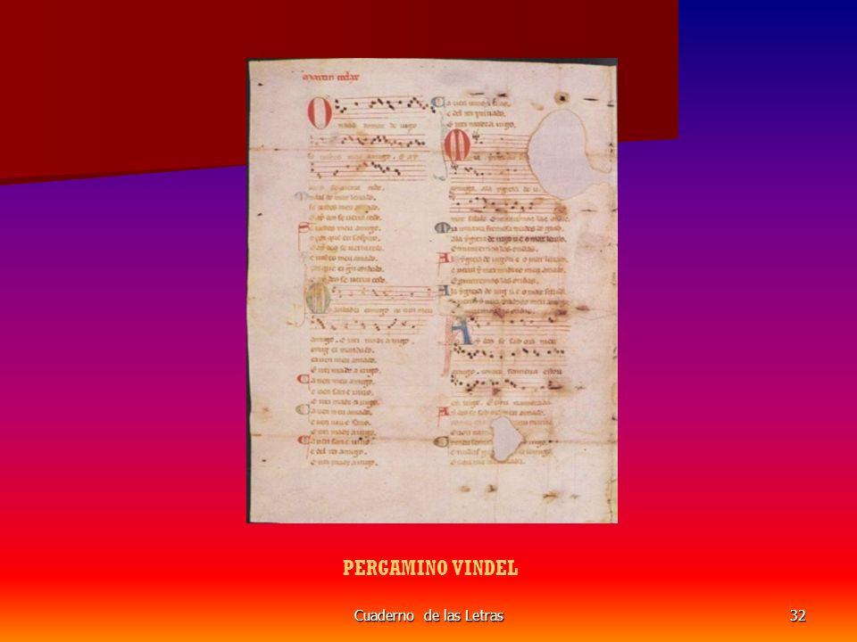 PERGAMINO VINDEL Cuaderno de las Letras